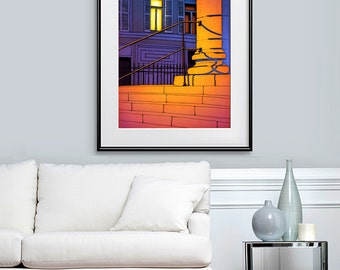 SALE: Midnight visitor  - Large size Paris print - Paris illustration Art illustration Giclee print Poster Home decor Wall decor Orange Blue