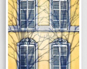Paris illustration - Shadows (vertical version) - Art Print Poster Paris art Paris decor Home decor Yellow Paris Facade Architecture Windows