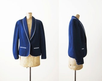Vintage Blazer / Piping Blazer / Woman Navy Blue Preppy Blazer Jacket / Sport Coat / 70s Clothing