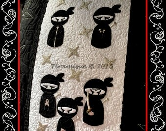 Nearly Ninja Applique design for the 4x4 inch (100x100mm) machine embroidery hoop