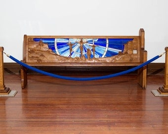 """Hand Carved Church Pew with Backlit Stained Glass Story of Christ's Crucifixion 85-1/2"""" long"""