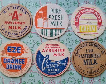 6 Antique Unused Milk Bottle Caps | Dairy Farm | Creamery | Lot No.84