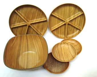 Vintage camping bowls and appetizers Plastic garden party set of 6 Wooden pattern 70s