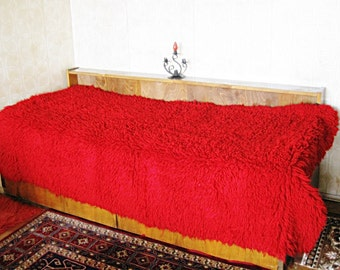 Wool Blanket bed cover Shaggy Rug Hand Woven of 100 % merino Flock Bedspread Counterpane Wall decor Bulgarian folk art