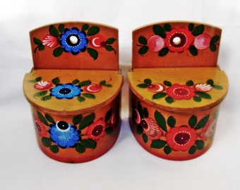 Vintage wooden wall boxes Hand painted Russian art Khokhloma Signed on the back Set of two