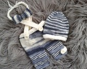 Newborn Boy Photo Prop,Baby Boy hand knitted Hat, Shorts with Suspenders and Bowtie ,Knitted baby booties