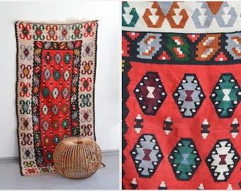 RESERVED Vintage rug carpet kelim kilim short pile runner arabic home decor decoration wall hanging