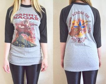 Vintage Sammy Hagar 1983 Burning Across The States with the Red Rocker Tour T-shirt with Original Ticket Stub, Raglan Concert Tee