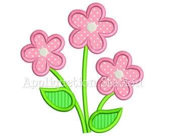 Flower Trio Applique Machine Embroidery Design Three Daisy Summer Spring INSTANT DOWNLOAD