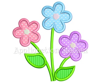 Flower Trio Applique Machine Embroidery Design Three Daisy INSTANT DOWNLOAD