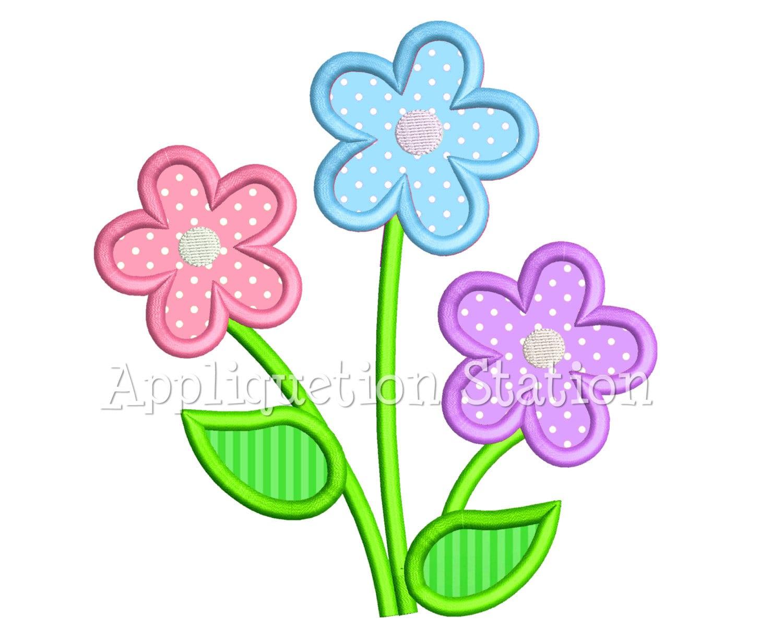 Flower trio applique machine embroidery design three daisy