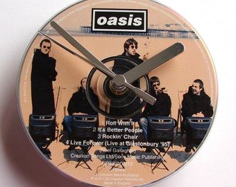 "OASIS DAY CD Clock, ""Roll With It"", Recycled music cd single, Gift for, men, women, guys, rockers"