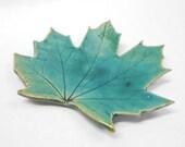 Pottery Maple Leaf Dish, Ceramic Maple Leaf Dish, Leaf Dish, Leaf Soap Dish, Leaf Spoon Rest, Maple Leaf, Leaf Trinket Dish, in Green Blue