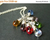 VALENTINE SALE Teardrop Necklace with Clear Charms and Silver. Cluster Necklace. Handmade Jewelry.