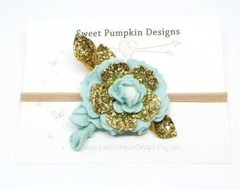 Gold Flower Headband. Baby Headband. Felt Flower Cluster. Flower Crown. Mint & Gold Headband. Wool Felt Flower. M2M Well Dressed Wolf HB1321