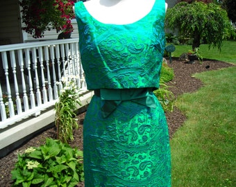 60's stunning blue and green brocade gown, faux crop top design / Mad Men/ Doris or Audrey style