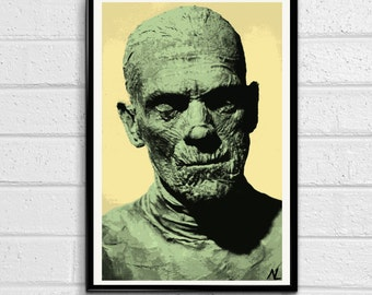 The Mummy Imhotep 1932 Egyptian Color or Black and White Illustration, Horror Movie Pop Art, Home Decor Poster, Film Print Canvas