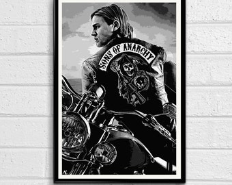 Jax Teller - Sons of Anarchy illustration, Television Pop art, Motorcycle Home Decor, Poster Print Canvas