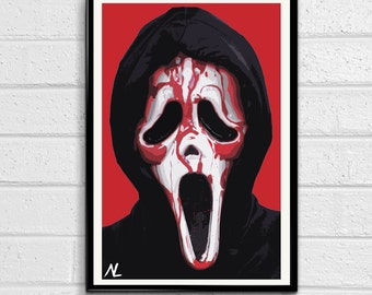 Ghostface from Scream Illustration, Horror Movie Pop Art, Halloween Home Decor Poster, Scary Film Print Canvas