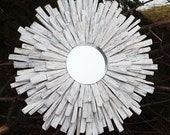 SM Whitewashed Wood Sunburst Mirror Wall Art, Mid Century Reclaimed Wood Art MADE to ORDER