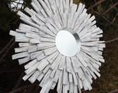 READY TO SHIP Whitewashed Wood Sunburst Mirror, Beach Wall Art, Driftwood Mirror