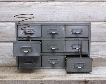 Small Vintage Industrial Grey Storage Cabinet