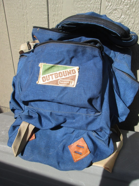 vintage usa outbound by taymor blue nylon backpack rucksack. Black Bedroom Furniture Sets. Home Design Ideas