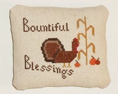 Completed Cross Stitch Primitive Pinkeep Tuck Thanksgiving Decor Decorative Ornament Pillow Ready to Ship