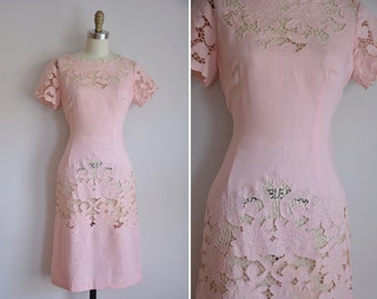 50s Sweet & Saucy dress/ vintage 1950s cut lace wiggle dress/ vintage pink fitted daydress