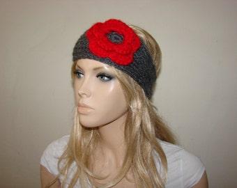 grey knit headband with red flower , Knitted headband Ear Warmer, Head wrap, head scarf Teen Young Adult Girl Woman Fall Winter fashion
