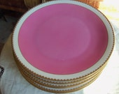 Reserved for Julianne/6 Czechoslovakian Luncheon Plates/ Victoria Pattern/Pink / Gold Trim / Fancy Dishes/Dinner Party / Wedding Gift