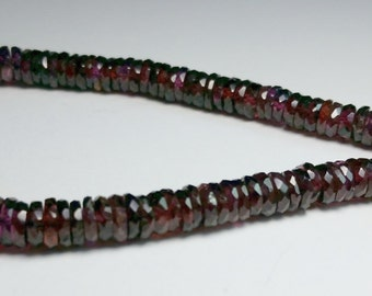 Dark Red Garnet Faceted Thin Rondelle Beads 4mm - 6mm