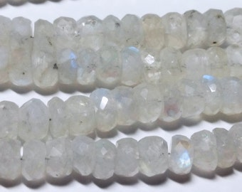 Opaque Rainbow Moonstone Faceted Rondelle Beads 6mm - 7mm