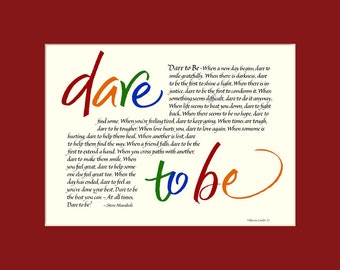 Dare To Be 8x10 Calligraphy Print, inspirational quote, wall art, motivational quote, Steve Maraboli