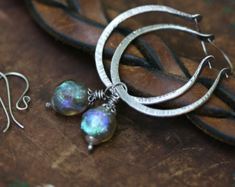 Rustic Artisan Sparkling Basha Bead 'Because the Sky is Blue' 2 in 1 Iridescente Ancient Labradorite Color Artisan Lamp work large Hoops n61