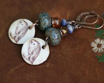 Rustic Ceramic Jewelry * Wild Life Owl* earrings n137- organic jewelry . earthy jewelry . owl print motif . spring jewelry discreet jewelry