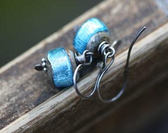 Rustic Shimmering blue Lampwork Solitary earrings n43B- rustci jewelry . artisan lamp work  jewelry . everyday short . sterling silver short