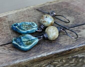 Earthy Bohemian Rustic Glazed Ceramic * Autumnal * earrings n15 - artisan clay . artisan ceramic  leaf . autumn leaves .  fall earrings