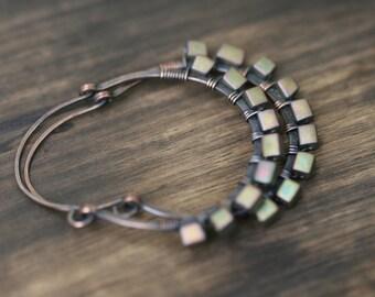 Rustic Hoops Green Olive Glass earrings n147- medium hoops . green olive earrings .hoops earrings  . earthy colors . solid copper hoops