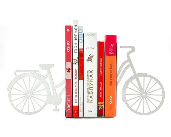 Items similar to bookends my white bike unique design sturdy metal book holders for your - Sturdy bookends ...