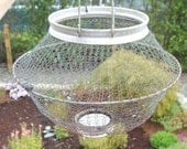 Small Old Wire Mesh Farm Basket Folds Flat, Perfect for Eggs, Nuts, or Vegetable Garden, Made in Italy