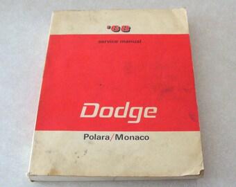 Original 1968 Dodge Polara Monaco MOPAR Service Manual, Excellent Used Condition