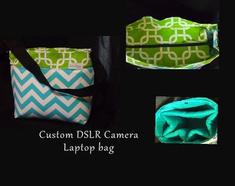 Lg DSLR camera bag + Strap cover \Custom camera bags \Nikon Canon 6d / Zipper top tablet Camera Bag 12x6x9