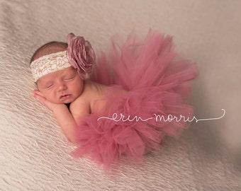 Newborn tutu set, newborn photo prop, baby tutu set, baby photo prop, dusty rose tutu, tutu set, dusty rose tutu set, baby tutu, newborn