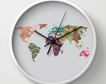 world map clock etsy