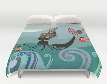 Mermaid Bedding, Mermaid Bedroom  Decor,  Duvet Cover, Queen Duvet Cover, Full Duvet Cover, King Duvet Cover, Turquoise