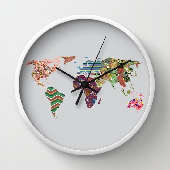 Buy World Map Clock. World Map Clock  Travel Decor Cute Wall Colorful