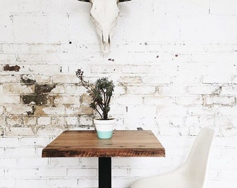 Rustic Industrial Reclaimed Wood Cafe Pub Table