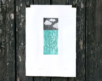 Roots of Rain - rainy landscape - map - printmaking - science art - laws of nature - scandinavian art - bohemian decor - gift for new mother