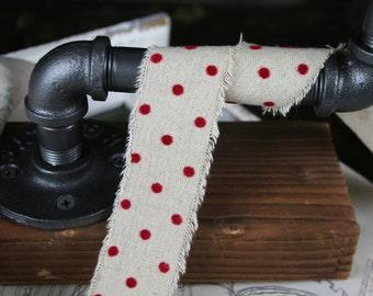 Frayed Edge Linen with Velvet Polkdaot Ribbon, Christmas, 30mm, By the metre,